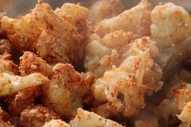 Cauliflower florets tossed in smoked paprika, gram flour, gluten free