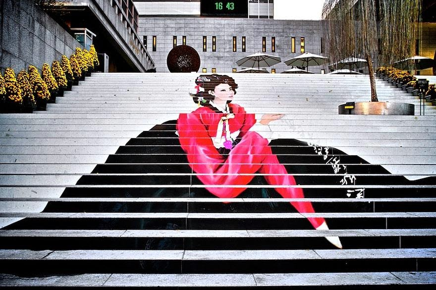 10. Stairs to the musical theater in Seoul, South Korea - 17 Beautifully Painted Stairs From All Over The World. #7 Is Insane!
