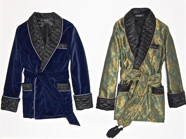 Men's smoking jacket robe velvet silk dressing gown
