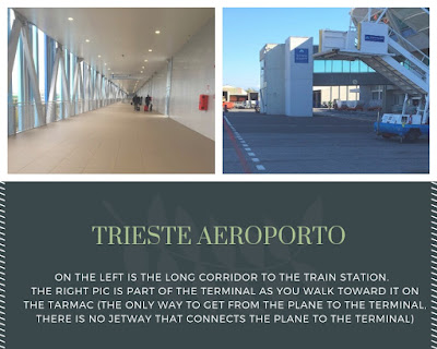 pictures of the trieste airport, one of the corridor to the train station and one of the terminal as you get off the plane