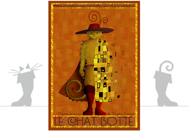 peinture Chat Botté klimt