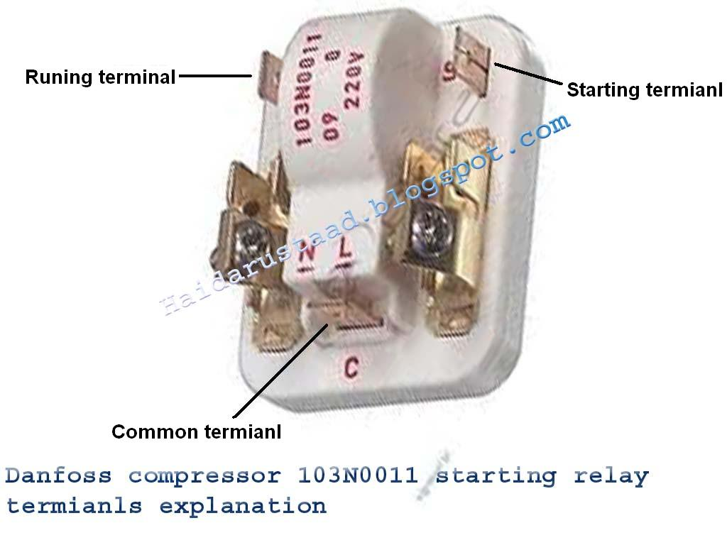 Danfoos compressor 103N0011 starting relay terminals explanation «  Electrical and Electronic Free Learning Tutorials