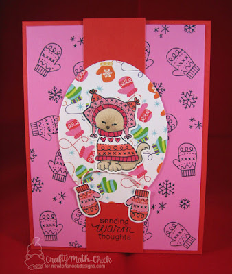 Kitty Sweater & Mittens card by Craft Math Chick | Sweater Weather stamp & die sets by Newton's Nook Designs