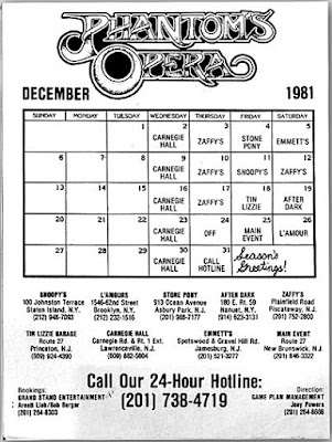 Phantom's Opera club calendar for December 1981