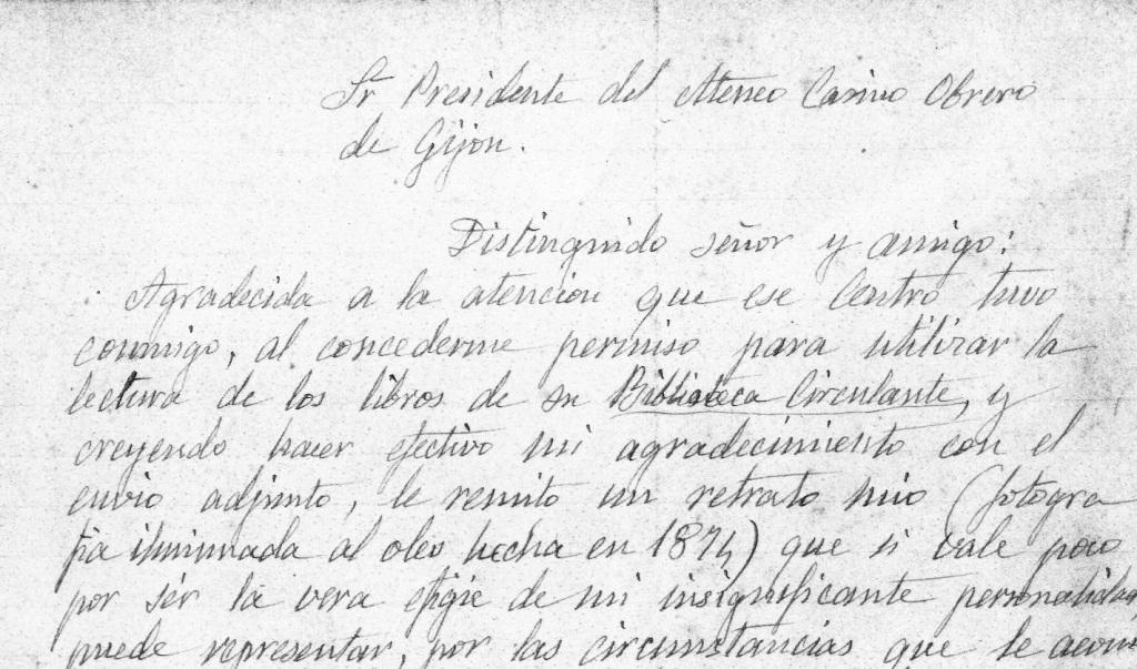 Fragmento de la carta que Rosario de Acuña envía en 1921 al presidente del Ateneo Obrero de Gijón