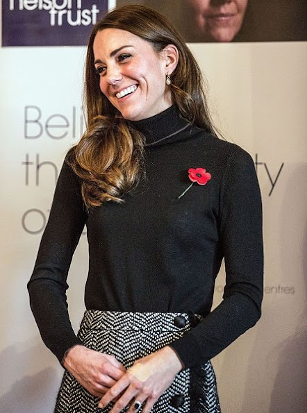 Kate Middleton wore Mulberry Paddington Coat and Dolce & Gabbana Boucle Wool Blend Skirt