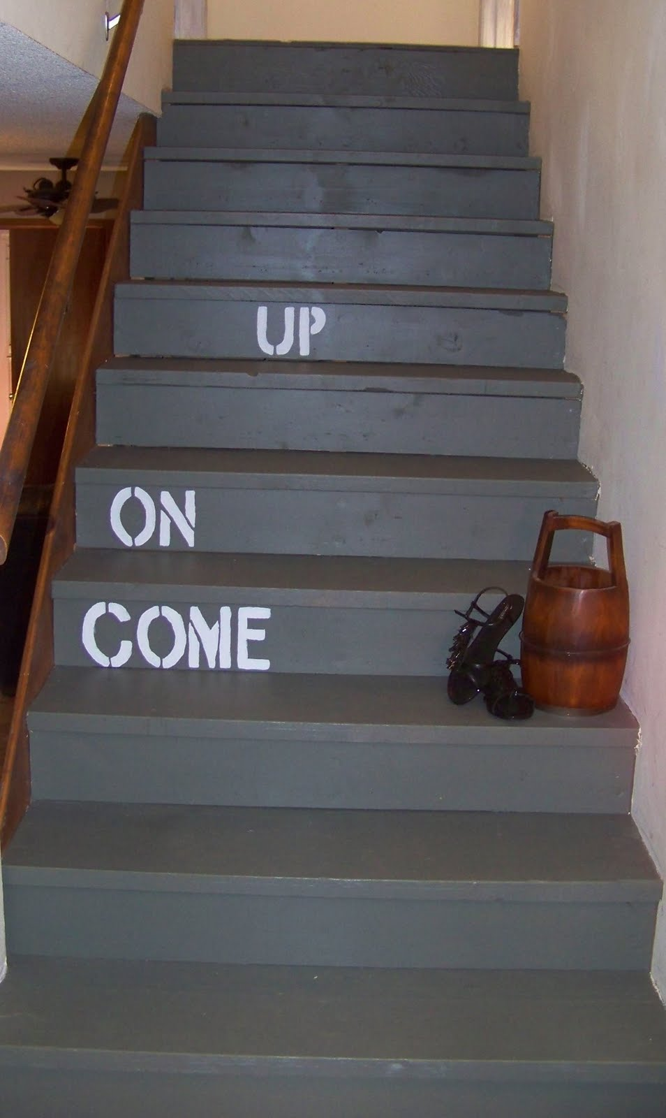 Lighting Basement Washroom Stairs: The Sunset Lane: Painted Stairs- The BIG REVEAL
