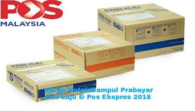 Senarai Harga Kotak dan Sampul Prabayar Pos Laju & Pos Ekspres 2018