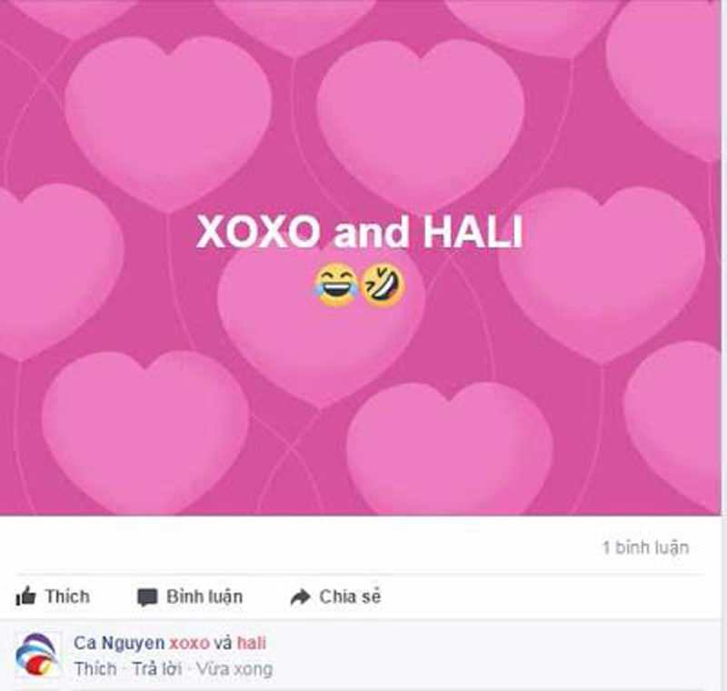 Tìm hiểu về Xoxo và Hali bùng nổ trái tim tại comments facebook