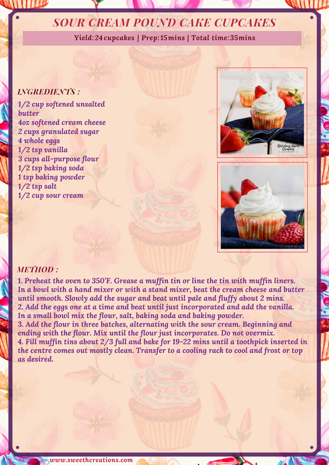 SOUR CREAM POUND CAKE CUPCAKES RECIPE
