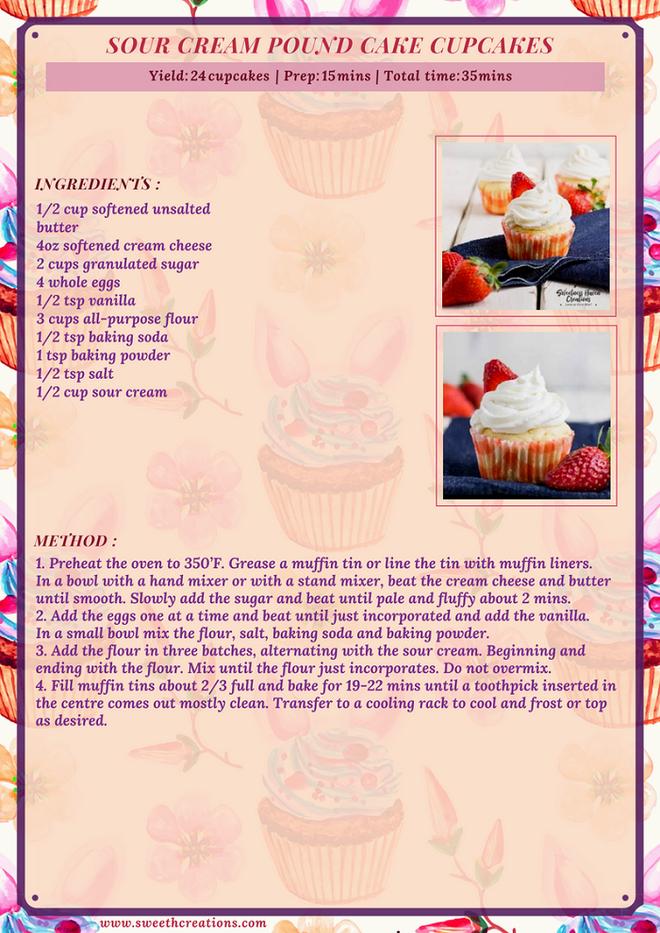 SOUR CREAM POUND CAKE CUPCAKES RECIPE