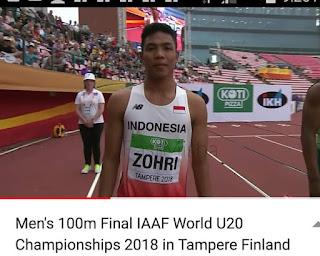 ZOHRI namanya JUARA ajang ATLETIK INTERNASIONAL 2018 Lari 100m Putra di Finlandia