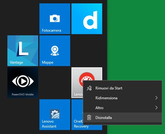 Come rimuovere le app installate sulle piastrelle del menu Windows 10