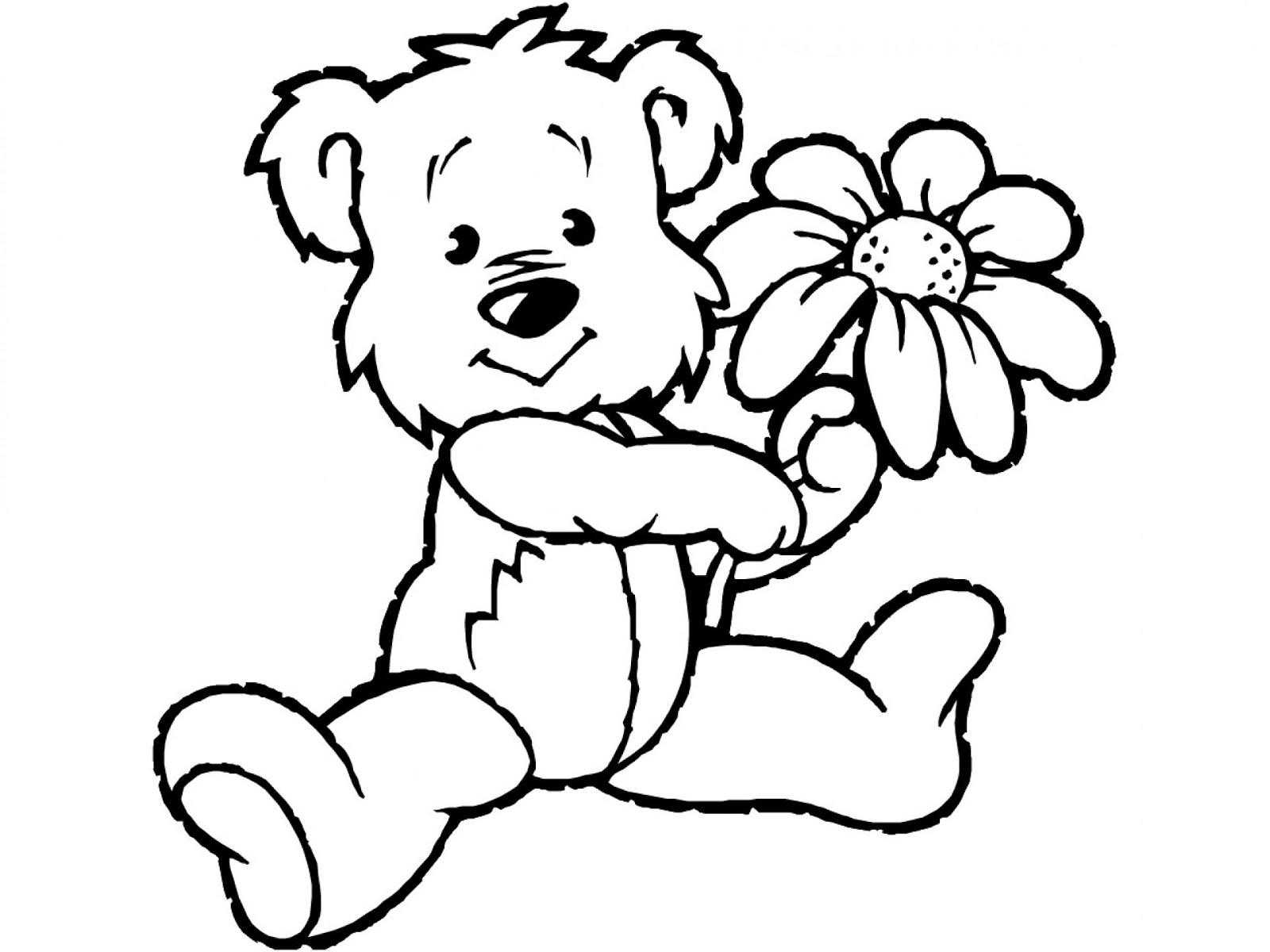 Tranh tô màu gấu cầm hoa