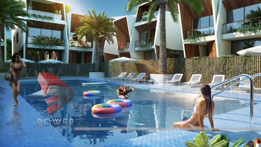 Residential towers row houses township designs villa for Common pool design xword