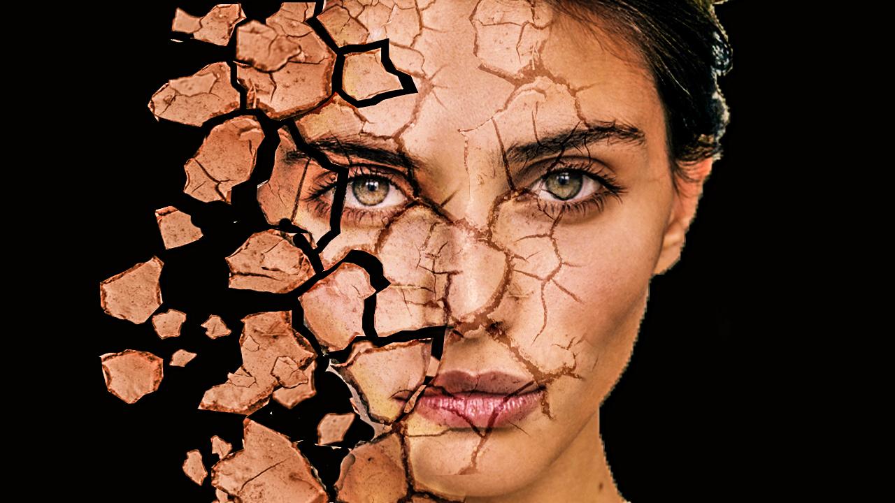 BaponCreationz: Crack Face Dispersion photoshop Effect