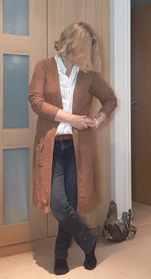 long cardigan and jeans with white blouse