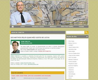 Tela congelada do site do professor Ênio Padilha.