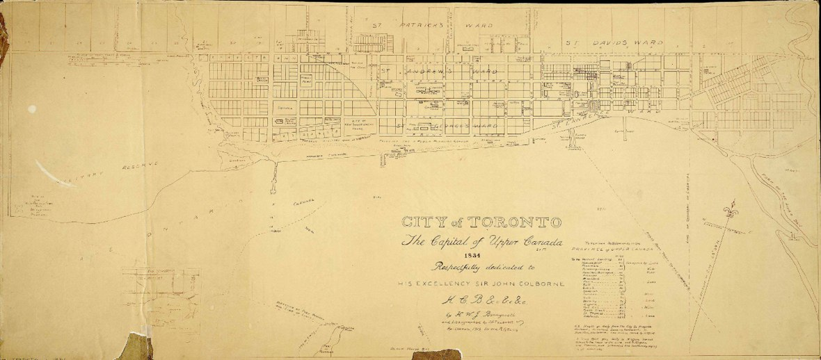 1834 Bonnycastle/Tazewell City of Toronto - redrawn version by WR Gregg