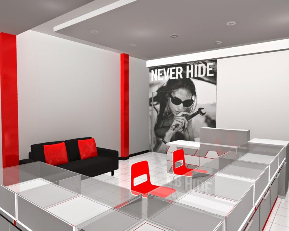 desain 3d Etalase Kacamata dan Interior Untuk Optik - Semarang 02