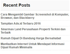tampilan recent posts di blog