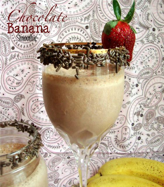 Chocolate Banana Smoothie, with sprinkles because Sprinkles make everything more fun!