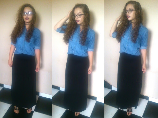1 Peça 5 Looks! Blog Insaturada! Blusa Jeans e saia longa!