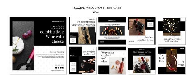 Traditional wine social media post Free Psd