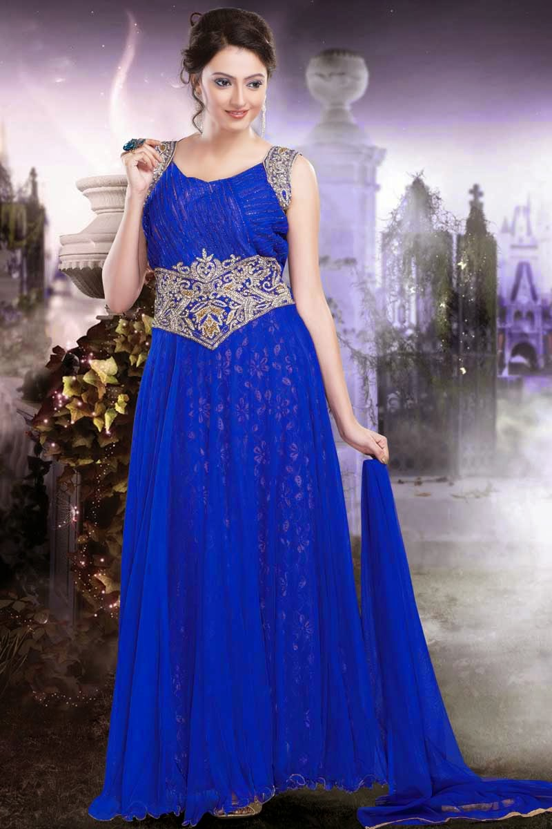 Albarino Net Embroidered Maxi Dress Gown And Stylish