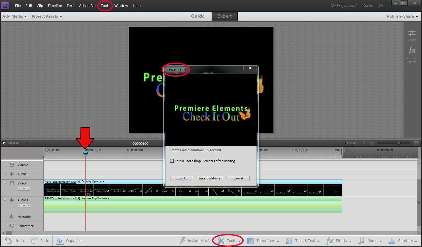 ATR Premiere Elements Troubleshooting: PE11: Freeze Frames