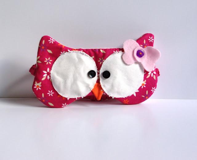 Eulen Schlafmaske selbst genäht Rosa Pink mit Schleife - Vorne