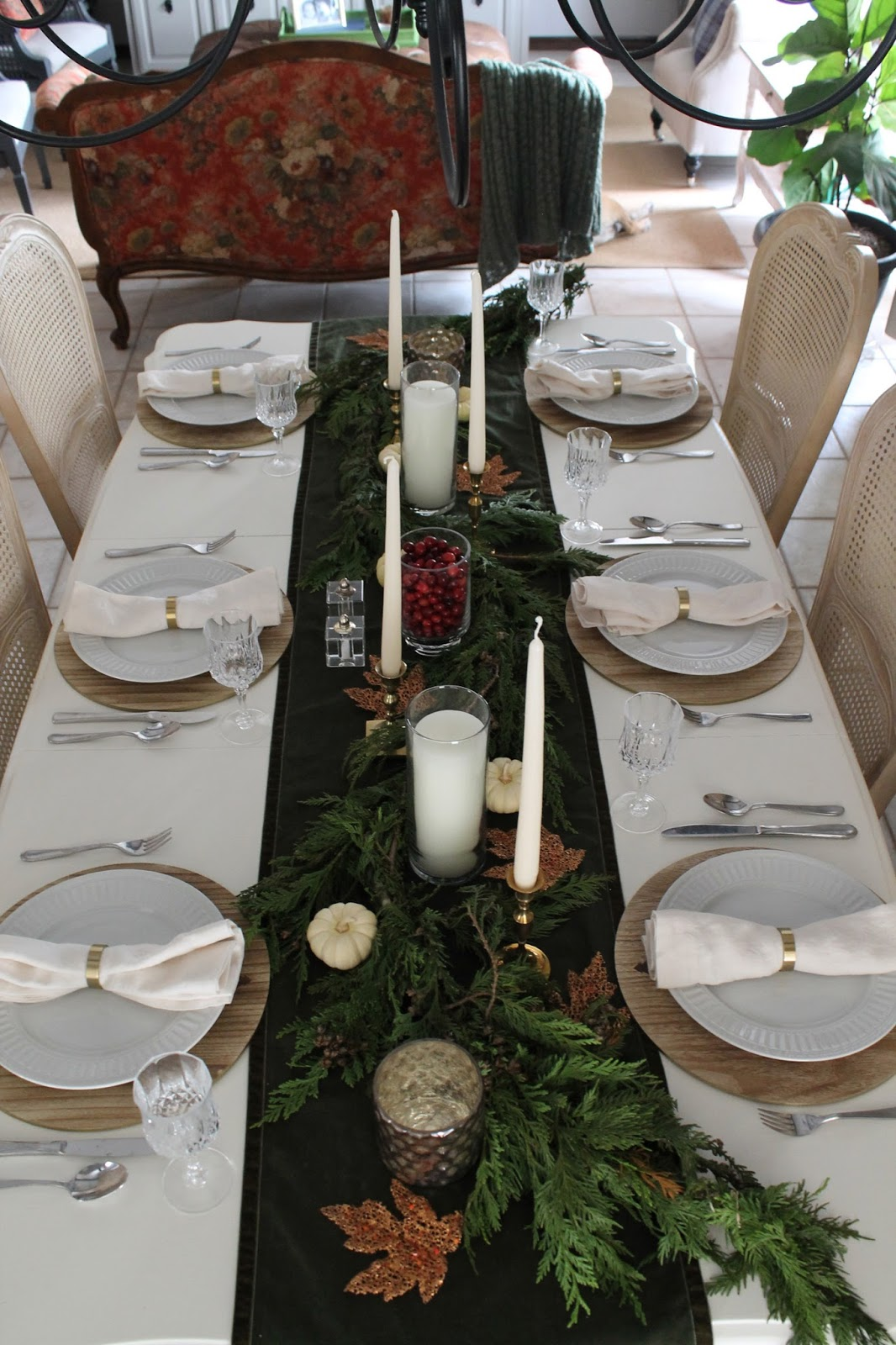 Our White Dinnerware Is Next And For The Napkins I Chose These Cream Linen From Crate Barrel With A Golden Napkin Ring Sur La Table