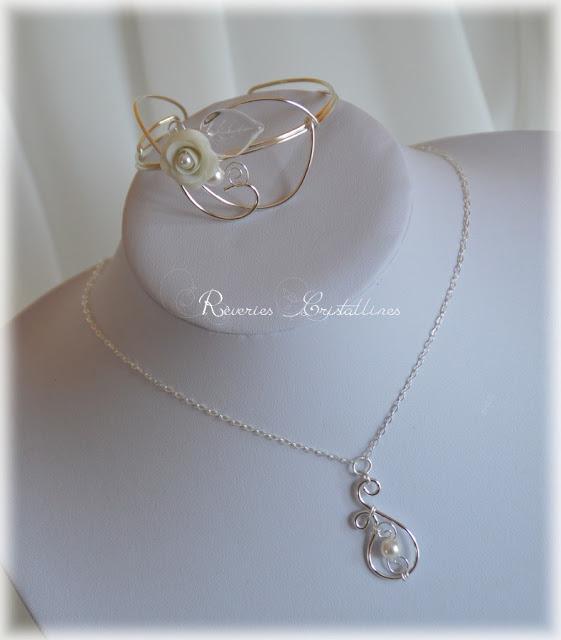 parure mariée collier et bracelet assortis wire wrapping