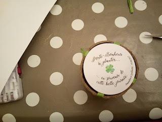 Cadeau d'invité au mariage : kit de pantation d'un trèfle à quatre feuilles