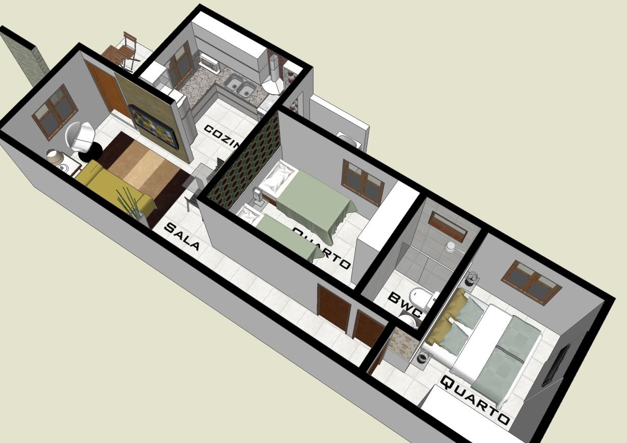 Quartos terreno 5m de frente 10 x R$ 9 90 Clique Projetos #91813A 1230 870