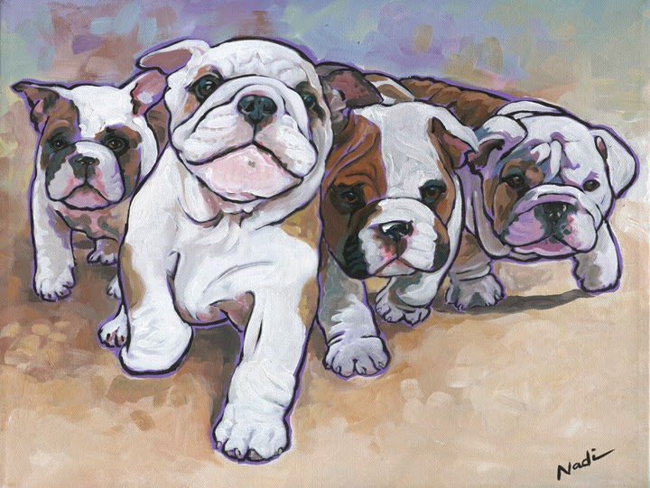 dog painting, bulldog, English Bulldog
