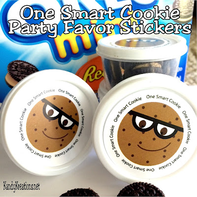 "Tell your kids and students they are One Smart Cookie to start the School year off on a sweet foot! These 2 inch printable stickers have a fun chocolate chip cookie face with the greeting ""One Smart Cookie"" around the outside allowing you to create easy party favors for your next Back to School party."