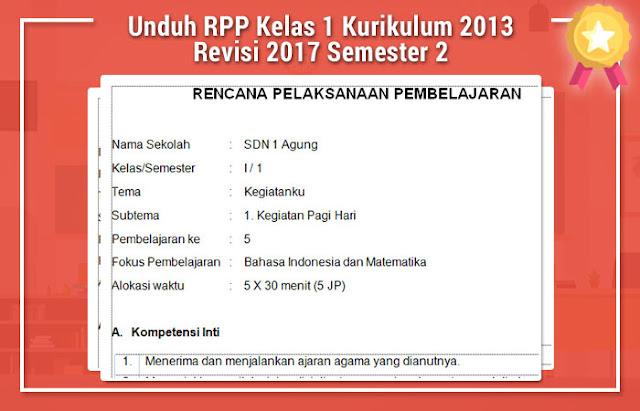 Unduh RPP Kelas 1 Kurikulum 2013 Revisi 2017 Semester 2