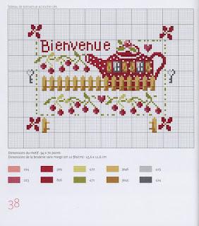schema punto croce -teiera con le ciliege -grille point de croix thé
