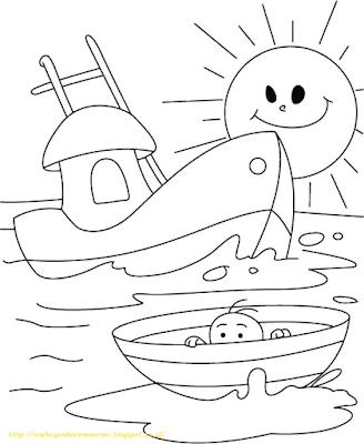 Mewarnai Gambar Kapal Laut - 5