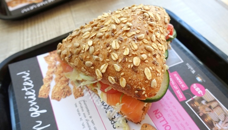 Lunch at Bakker Bart The Hague triangular bread salmon herb cheese spread lettuce