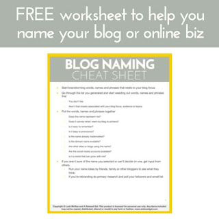 Free blog naming cheat sheet | arelaxedgal.com