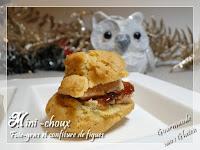 Mini-choux au foie gras et confiture de figues