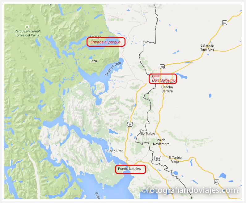 mapa llegada Torres Paine