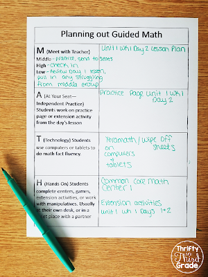 Be organized as you set up and plan for guided math. This printable will help you brainstorm and jot down ideas for how to have each component working in your classroom. You can download it for free.