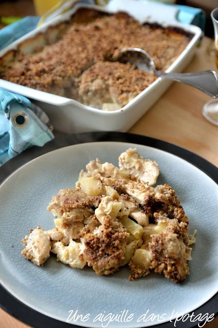 Poulet au cidre en crumble sarrasin-noisette