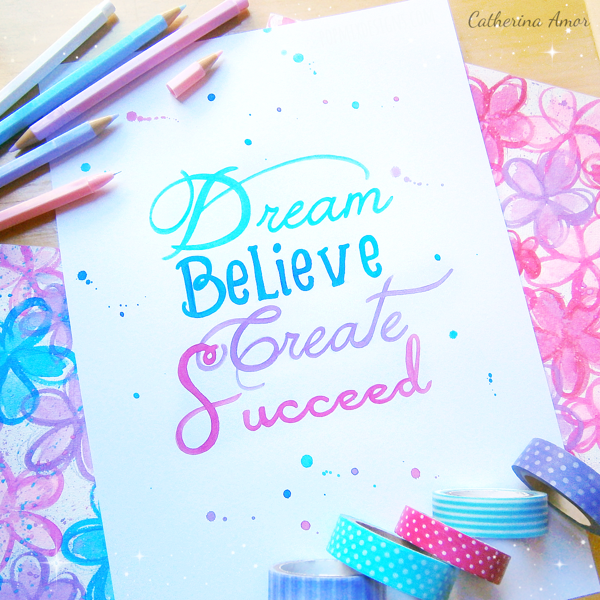 Watercolor Quotes Dream Believe Create Succeed