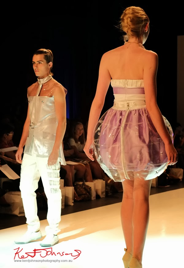 Rebecca Chen; clear plastic, pink and white -  New Byzantium : Raffles Graduate Fashion Parade 2013 - Photography by Kent Johnson.