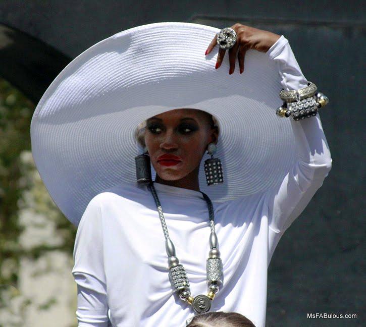 woman white hat
