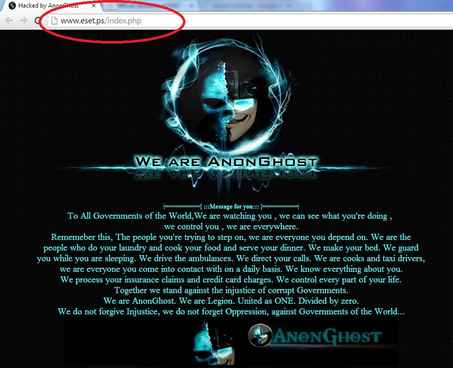 Eset Nod32 Antivirus Website Hacked By Anonghost Cyber